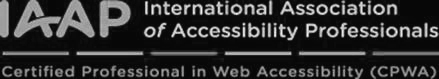 International Association of Accessibility Professionals, Certified Professional in Web Accessibility